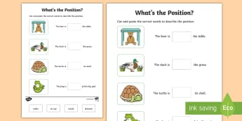 What's the Position Cut and Paste Activity Sheet - Mathematics, Foundation Year, Measurement and Geometry, worksheet, Location and transformation, ACMM