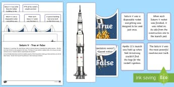 The Saturn V Rocket True or False Sorting Activity Sheet - Home Education Lapbooks, the moon, apollo, apollo 11, apollo 13, Neil Armstrong, Launch, Moon landin