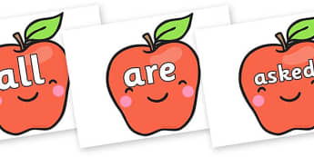 Tricky Words on Cute Smiley Apple - Tricky words, DfES Letters and Sounds, Letters and sounds, display, words