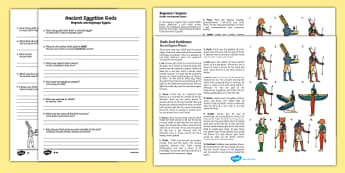 Ancient Egyptian Gods Differentiated Comprehension Activity English/Polish - Ancient Egyptian Gods Differentiated Reading Comprehension Activity - osiris, belief, ra, goddess, a