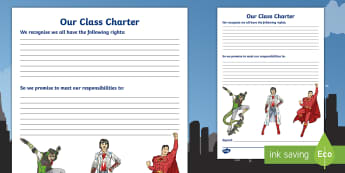 Our Class Charter Superhero Themed for SEAL Writing Template - Classroom, Management, Behaviour, KS2, rules, contract, democracy, organise