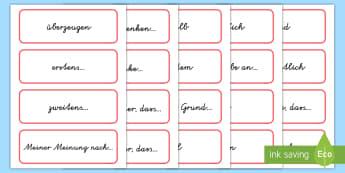 Erörterung wichtige Ausdrücke Wortkarten-German - Argumentation, Argumentieren, Argumente, Pro, Kontra, für, gegen, Vorteile, Nachteile, ,German