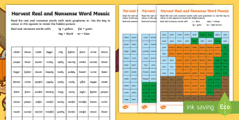 Harvest Phase 6 Phonics Mosaic Activity Sheets - autumn, Decode, Read, Blend, Pattern, worksheet