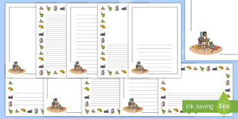 Summer Holiday Bucket List Page Border Pack - beach, writing, frame, sun, vacation,