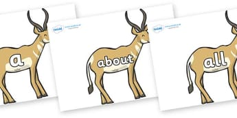 100 High Frequency Words on Antelopes - High frequency words, hfw, DfES Letters and Sounds, Letters and Sounds, display words