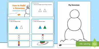 How to Build a Snowman Instructions - make a snowman, craft, paper, making, instructions,