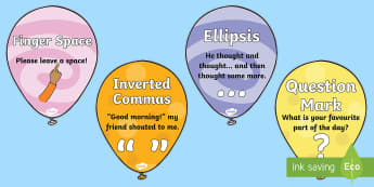 Punctuation Balloons Display Posters - inverted commas, commas, question mark, exclamation mark, brackets, apostrophe,