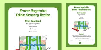 Frozen Vegetables Edible Sensory Recipe - cooking, recipe, autumn, eyfs, early years, frozen vegitables, sensory