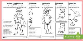 Reading Comprehension   Three Key Words Activity Sheet - English/Mandarin Chinese - Reading comprehension, information carrying words, key words, follow instructions, worksheet, activi