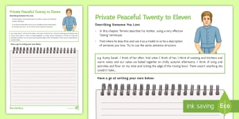 Twenty to Eleven Description Activity Sheet to Support Teaching on 'Private Peaceful' by Michael Morpurgo - Private Peaceful, description, listing, Morpurgo, KS3 text, relationships, worksheet, creative writi