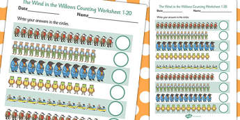 The Wind in the Willows Counting Sheet 1-20 - counting, sheet
