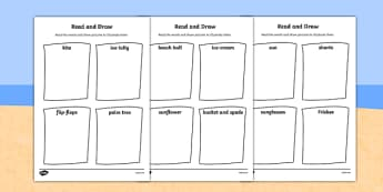 Summer Read and Draw Worksheet - seasons, weather, activities