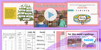 PlanIt Spelling Year 3 Term 3A W1: Words Ending in  ary Spelling Pack - Spellings, Year 3, Term 3B, W1, suffix, -ary, word meaning, etymology, word origin