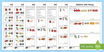 Addition With Money Differentiated Activity Sheets - Australian currency currency, money, counting, shopping, Australia, dollars, cents