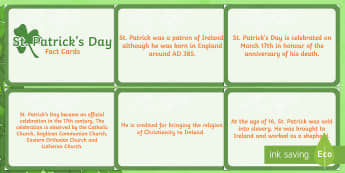 St Patricks Day Display Fact Cards - st patricks day, fact, cards