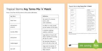 Tropical Storms Mix And Match Activity Sheet - hurricane, typhoon, cyclone, climate, change, worksheet