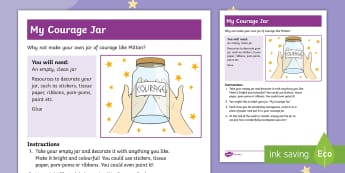 The Making of Milton My Jar of Courage Activity Sheet - twinkl originals fiction, KS1, EYFS, Story Sack, Home learning, parents, PSCHE, worksheet
