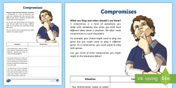 Compromises Activity Sheet - behaviour, friendship, relationships, young people, families, anger, feelings, worksheet