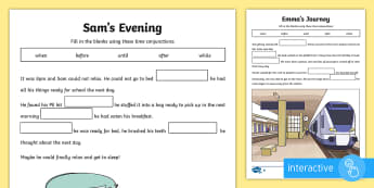 KS2 Time Conjunctions Cloze Differentiated Go Respond Activity Sheets - time conjunction, time connectives, conjunctions, connectives, cloze, fill in the blanks, fill in th