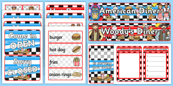 American Diner Role Play Pack-american, diner, american diner, role play, pack, role play pack, american diner pack, diner role play, food