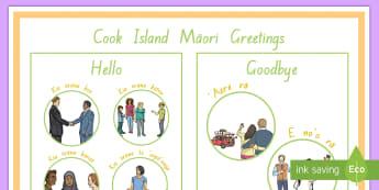 Cook Island Greetings Display Poster - Cook islands, cook island, language week, greetings, pasifika