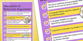 Text Types Guide Discussion or Balanced Arguments Display Poster - discussions poster, balanced argument poster, how to write a balanced argument, ks2