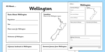 All About Wellington Writing Frame - Wellington, Anniversary, city, research