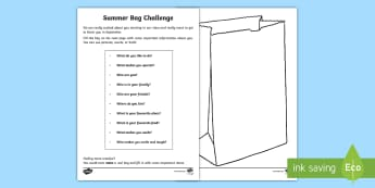Transition Summer Bag Challenge Activity Sheet - PSHCE, transition, special, change, relationships