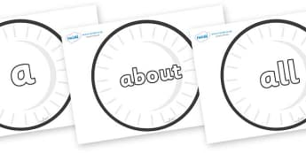 100 High Frequency Words on Circles (Plain) - High frequency words, hfw, DfES Letters and Sounds, Letters and Sounds, display words