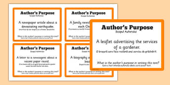 Guided Reading Skills Task Cards Author's Purpose Romanian Translation - guided, reading, romanian