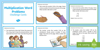Multiplication Word Problems Challenge Cards - Multiplication, Problem solving, Decimals, Money, Addition, Subtraction, Early finishers,Irish