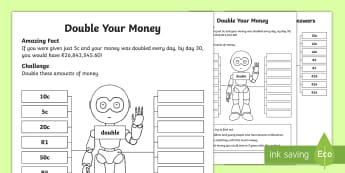 Double Your Money Activity Sheet - money, rands, cents, South Africa, money, doubling