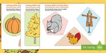 Autumn Themed Cutting Skills Activity Sheet English/German  - fine motor skill, seasons, EAL, German, English-German,,German-translation