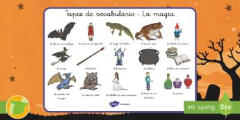 Tapiz de vocabulario: La magia - halloween, noche de brujas, vocabulario, palabra, palabras, magia, mágico, mágica, hechizos, bruje