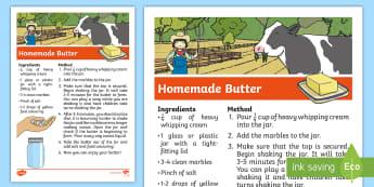Homemade Butter Recipe - mixtures, earths resources, natural resources, combining materials, ACSSU032, ACSSU031,Australia