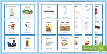 Everyday Objects at School Editable Cards Spanish - spanish, EAL, routine, vocab, vocabulary,