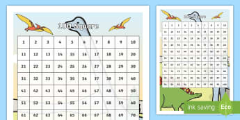 Dinosaur Themed 100 Number Square - Dinosaur Themed 100 Number Square - dinosaur, 100 square, themed, square, 100, numbers,numbes, 100sq