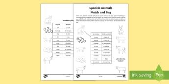 Spanish Animals Match and Say - spanish, animals, match, say, language