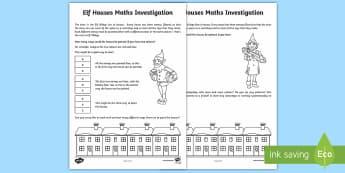 Elf Houses Investigation Activity Sheet - UKS2, maths, investigation, Christmas, elf, number, logic