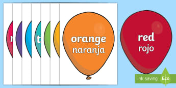 Colours on Balloons Topic Words on Topic Images English/Spanish - colour baloons, colour, colouring, colour mixing, black, white, red, green, blue, yellow, orange, pu