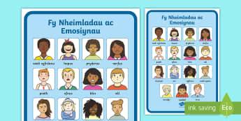 Poster Geirfa Fy Nheimladau ac Emosiynau - Poster, Arddangos, Teimladau, Emosiynau, Geirfa, Vocabulary, Display, Poster, Emotions, Feelings,Wel