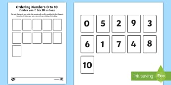 Ordering Numbers 0 to 10 Activity English/German - counting, maths, figures, EAL, German, English-German,,German-translation
