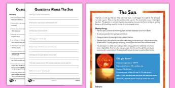 Year 5 The Sun Differentiated Reading Comprehension Activity - solar, sun, corona, core, gravity, orbit, dwarf star, yellow giant, energy
