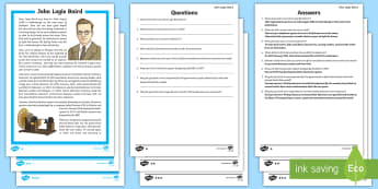 Scottish Scientist and Engineer John Logie Baird Differentiated Reading Comprehension Activity - CfE, science, engineering, STEM, television, inventor, inventions, topical science, technology, famo