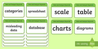 CfE Second Level Numeracy and Mathematics Data and Analysis Keyword Flashcards-Scottish - Wall Display, keywords, MNU 2-20a, MNU 2-20b, MNU 2-21a, language of maths, vocabulary, word wall, S