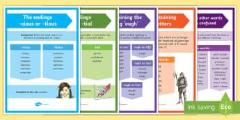 UKS2 Spelling Rules Display Posters - spelling, spag, uks2, y5, year 5, y6, year 6, spelling rules, posters, gaps, homophones, word list,