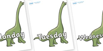 Days of the Week on Brachiosaurus - Days of the Week, Weeks poster, week, display, poster, frieze, Days, Day, Monday, Tuesday, Wednesday, Thursday, Friday, Saturday, Sunday