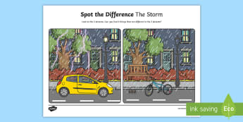 The Storm Spot the Difference Activity Sheet - oral language, english, spot the difference, speech and language, talking, weather, storm, SLT, ,Iri