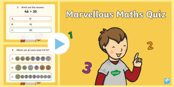 KS1 Marvellous Maths Quiz PowerPoint - maths skills, questions, multiple choice answers, calculations, years 1 and 2