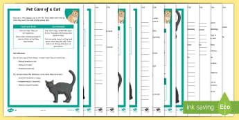 KS2 Pet Care of a Cat Differentiated Reading Comprehension Activity - KS2, comprehension, reading, reading comprehension, reading activity, national pet month, pets, pet